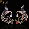 Alta Qualidade Rose Banhado A Ouro Criado Diamante CZ Do Parafuso Prisioneiro Das Mulheres jóias brinco moda manguito com multi color big vivid phoenix zircão cúbico E168