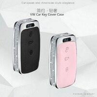 Silver Diamond Zinc Alloy Leather Car Key Cover Case For Volkswagen Bora Polo Tiguan Passat B5