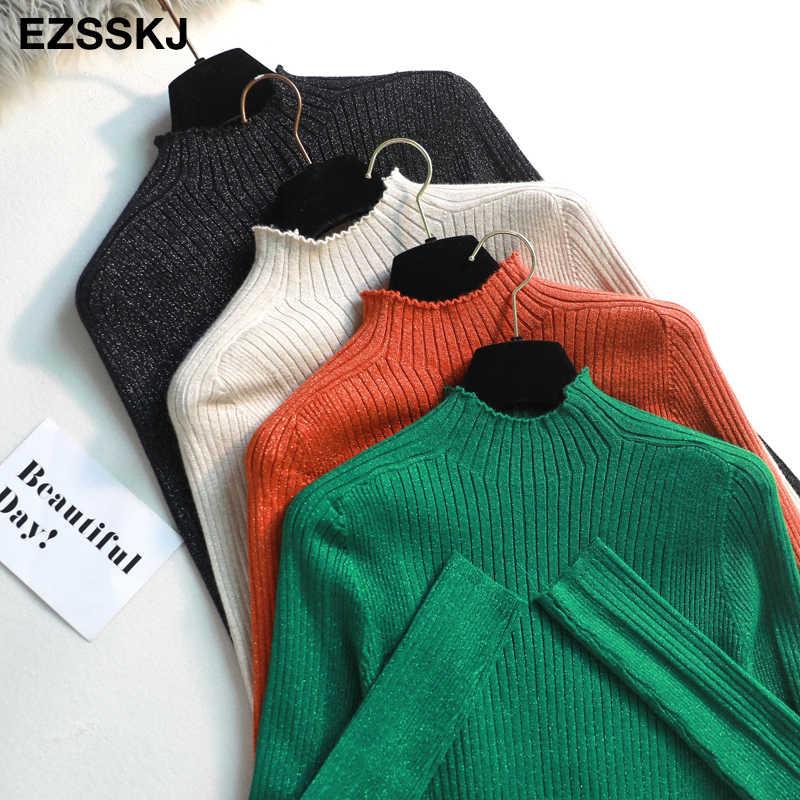 2019 グリッタータートルネックニットセーター女性のセータープルオーバー秋冬ラメスリム女性 baisc セータージャンパー