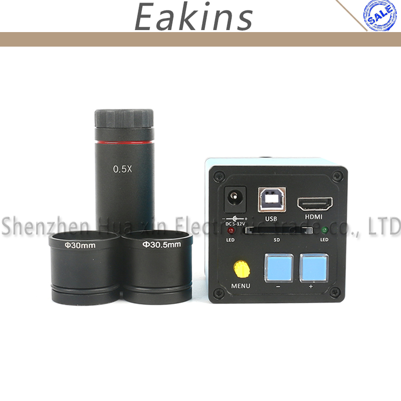 16MP HDMI USB Sony CMOS Sensor Digital Industrial Microscope CCD Camera+0.5X Eyepiece Lens Adapter 30/30.5mm For PCB Repair