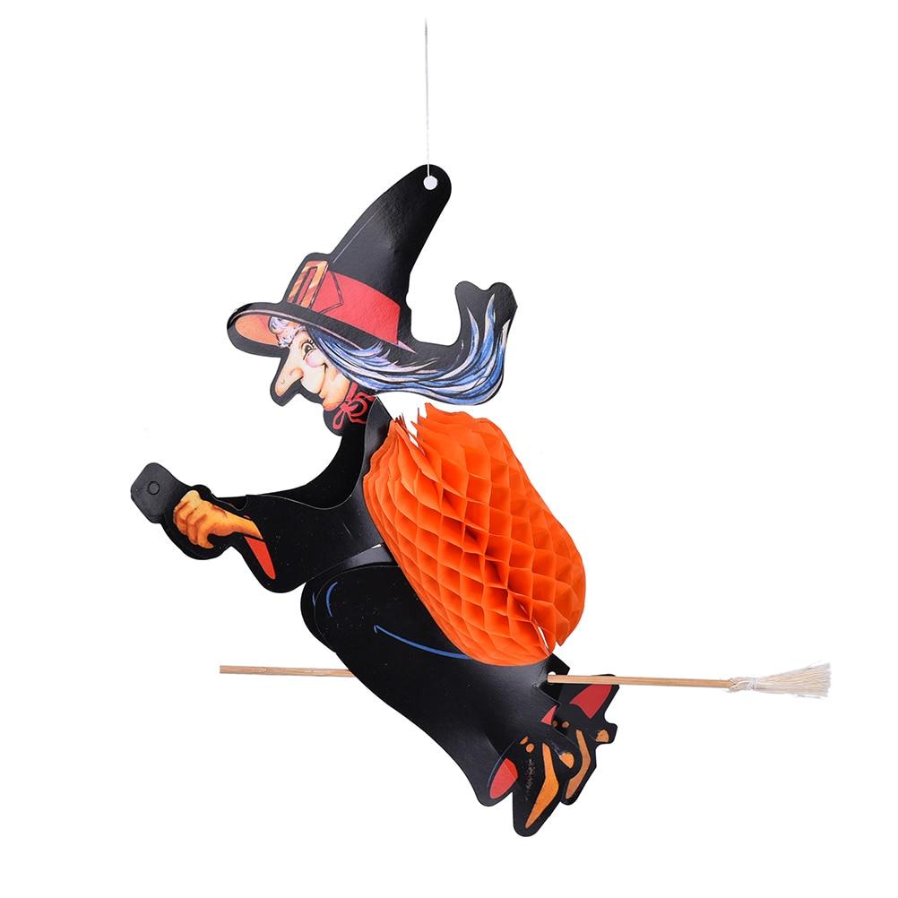 Decorative door hangers craft - Hot Halloween Paper Hanging Witch Besom Lantern Door Hanger Foldable Fun Halloween Party Props Diy Paper Craft