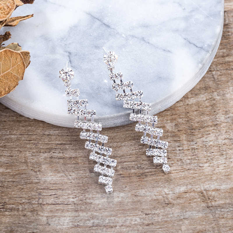 TDQUEEN Long Earrings Wedding Party Bridal Ear Jewelry Classic Rhinestone Beautiful Christmas Birthday Gift Silver Color Earring