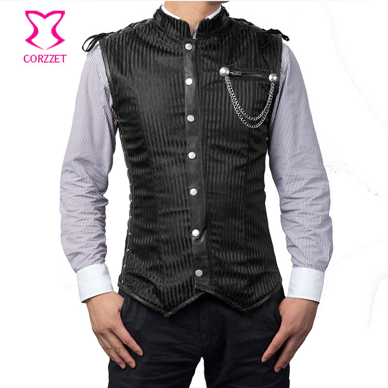 Corzzet Black Striped Stand Collar Sleeveless Mens Steampunk Jacket Plus Size Gothic Mens Corset Vest Burlesque Kostum Pakaian