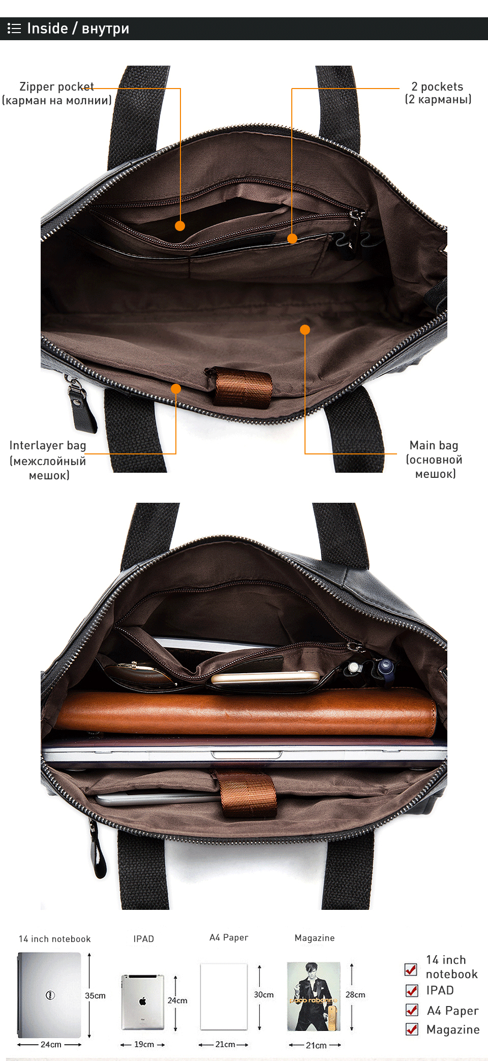 2 genuine leather bag for men