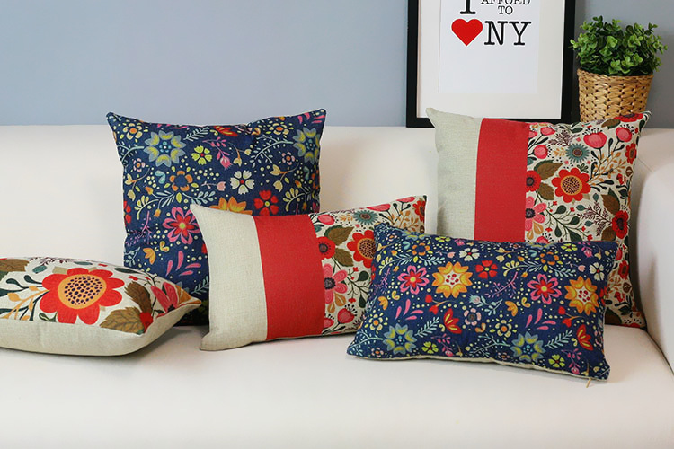 2 Cushion Sofa Dry Clean Covers At Home Beautiful Floral Garden Pillows American Country Style ...
