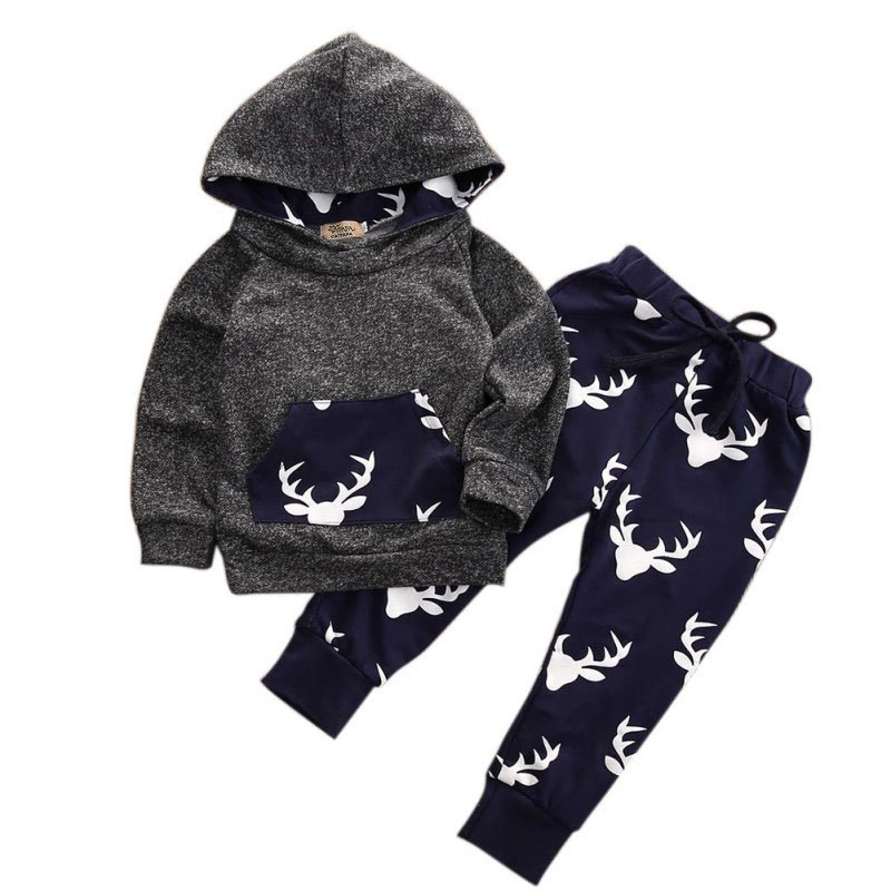 Fashion Baby Pullovers Infants Boys Long Sleeve Clothes Set Cotton Coat Tops+Pants Outwear Comfortable For Dressing
