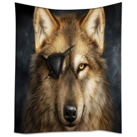 HommomH Tapestry Art Decor Wall Hanging in Dorm Living Room Bedroom One Eyed Wolf Has A Story Brown