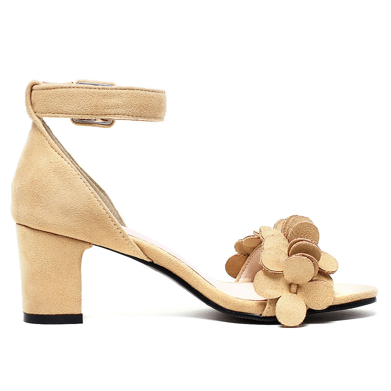 bb89f6336271 Shoes type   Fashion peep toe high thick heel buckle sandals for women. 3 9  10 11 ...