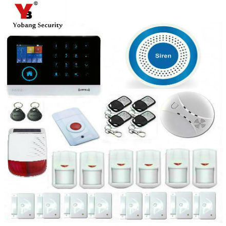 YobangSecurity Android IOS APP GSM WIFI GPRS RFID Touch Pad Home Alarm Security System Solar Power Siren Gas Smoke Fire Detector yobangsecurity wireless wifi gsm gprs rfid home security alarm system with ip camera solar power outdoor siren smoke detector