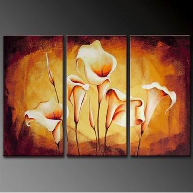 Hand Painted Acrylic Floral Paintings Modern Wall Art Lily Flower ...
