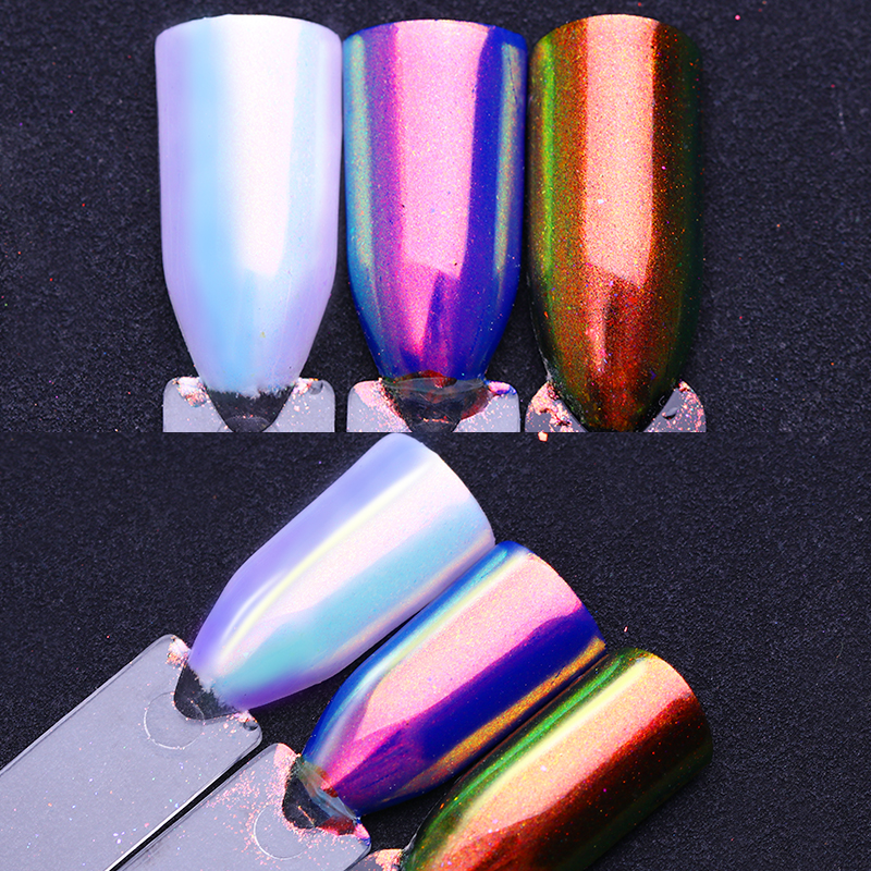 Chameleon Mermaid Nail Powder 0.2g AB Color Chrome Manicure Pigment Powder Decoration 1 Caja Nail Glitter Dust Nail Decoraciones