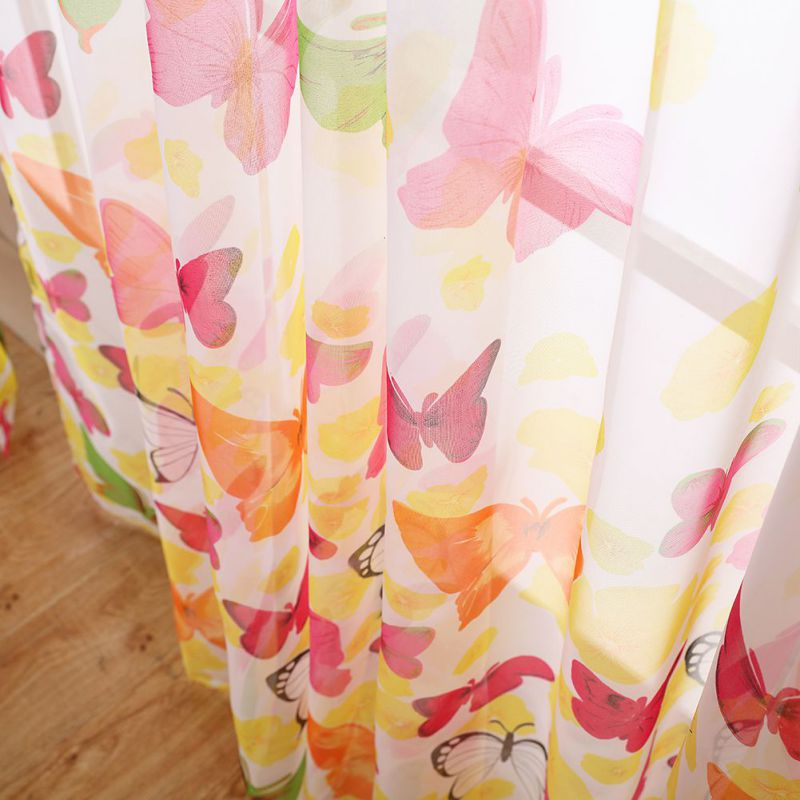 Butterfly Tulle Sheer Curtains Window Screen Door Balcony Panel Scarf Valance Fresh Style