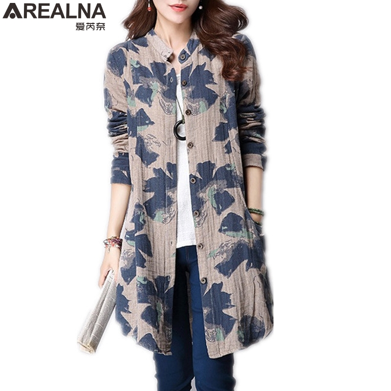 AREALNA autumn women blouses 2018 kimono long shirt women tops vintage cotton li