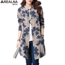 AREALNA autumn women blouses 2018 kimono long shirt women tops vintage cotton linen print floral Casual blusas femininas shirts