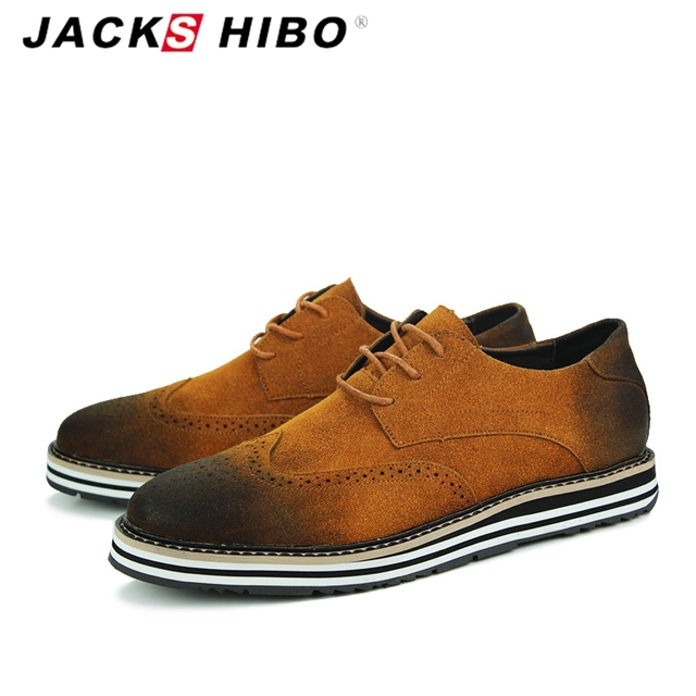 JACKSHIBO  brand autumn Baroque men suede shoes,retro man dress British style leather shoes,high quality brown flats shoes