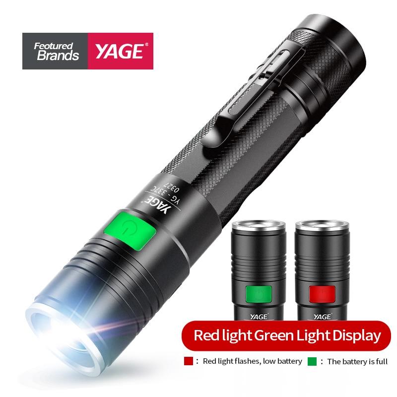 Ισχυρή επαναφορτιζόμενη φανή φακός LED Φορητό φακό ταυρομαχιών USB μαύρο Cree LED στρατιωτικό φανάρι 18650 λαμπάκι χειρός
