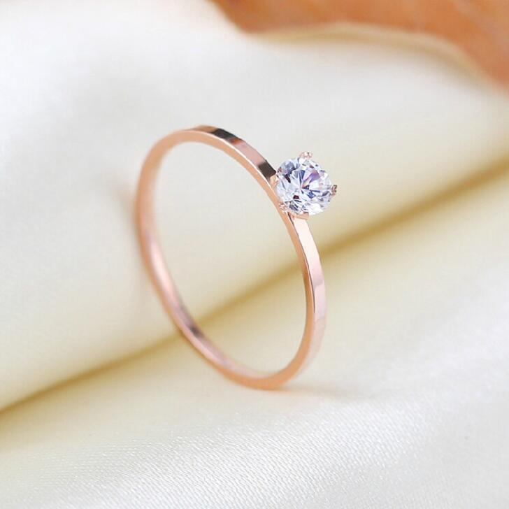 Jewelry & Accessories Selfless Martick 1mm Rose Gold-color Stainless Steel Ring For Women Silver Color Top Quality Cz Ring High Polished Wedding Rings Gift R7 High Quality Goods