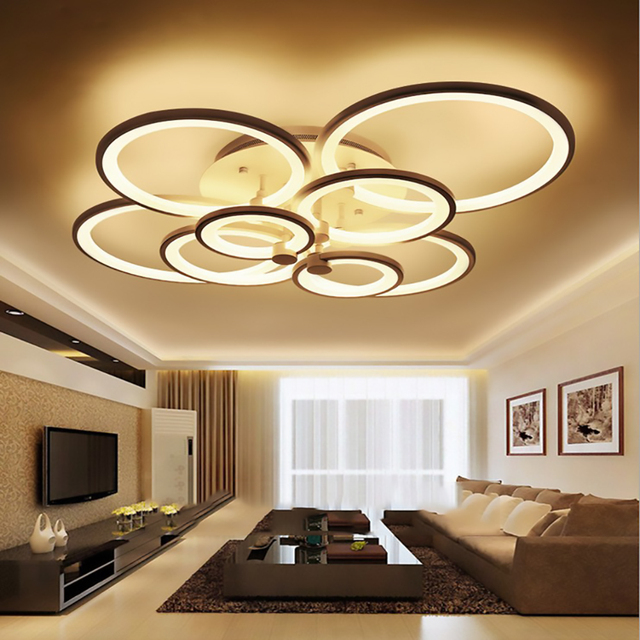 FULOC Black/White Finished LED Circle Modern Chandelier Lights For Living Room