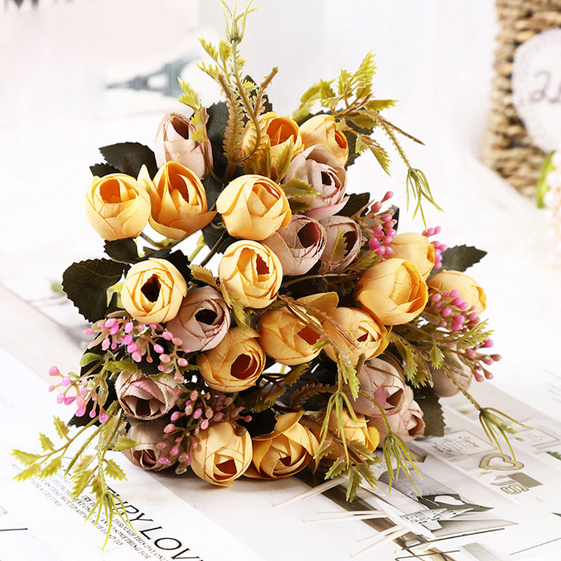 2 5 cm 13 flower head rose Autumn fake flowers bud silk flower artificial flower for wedding diy Party decoration home decor in Artificial Dried Flowers from Home Garden