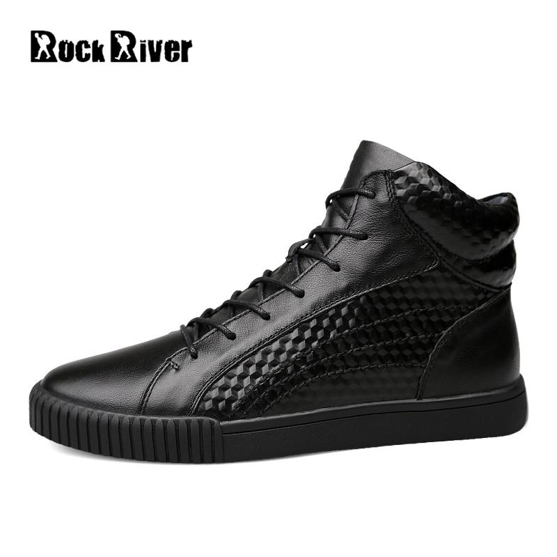 2017 Warm Plush Winter Shoes Men Ankle Waterproofs High Top Lace-up Black Men Casual Shoes Autumn 100% Genuine Leather Men Shoes black sequins embellished open back lace up top