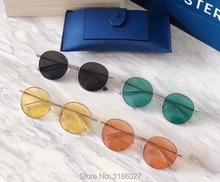 лучшая цена Trend MIDNIGHT SUN Round Sunglasses Women Metal Frame Transparent Colorful Lens UV400 Sun Glasses Men Gentle Brand Design