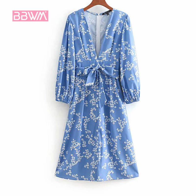 2019 Spring New Floral Print Holiday Style French Dress Sexy V-neck Back Bow Tie Female Dress Seaside Leisure Vacation Women's Clothing