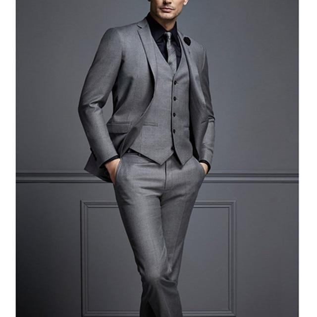 2017 New Design Black Gray Two On Groom Tuxedos Best Man Suit Wedding Groomsman Men Suits