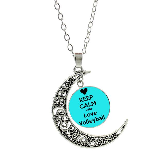 NEW glass cabochon Keep Calm And Love Volleyball moon necklace men women  beach volleyball player pendant jewelry gifts SP224 25519136d