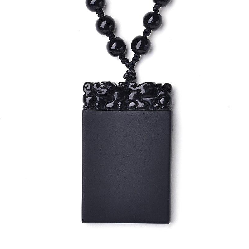 Чистые и натуральные обсидиан кулон ожерелье обувь для мужчин и женщин Кристалл деньги висит Безопасный карты