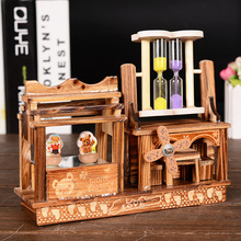 New Classical Rotary Bear Dancer Hourglass Music Box Creative Artware Gift Wooden Crafts Home Decor Couple Gifts