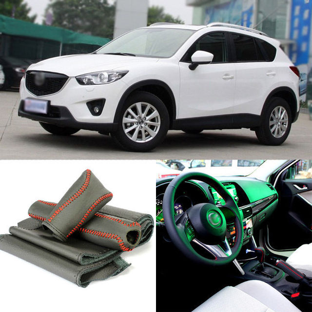 Top Cowhide Sew-on Genuine Leather Steering Wheel Cover For Mazda CX-5 2013 AT