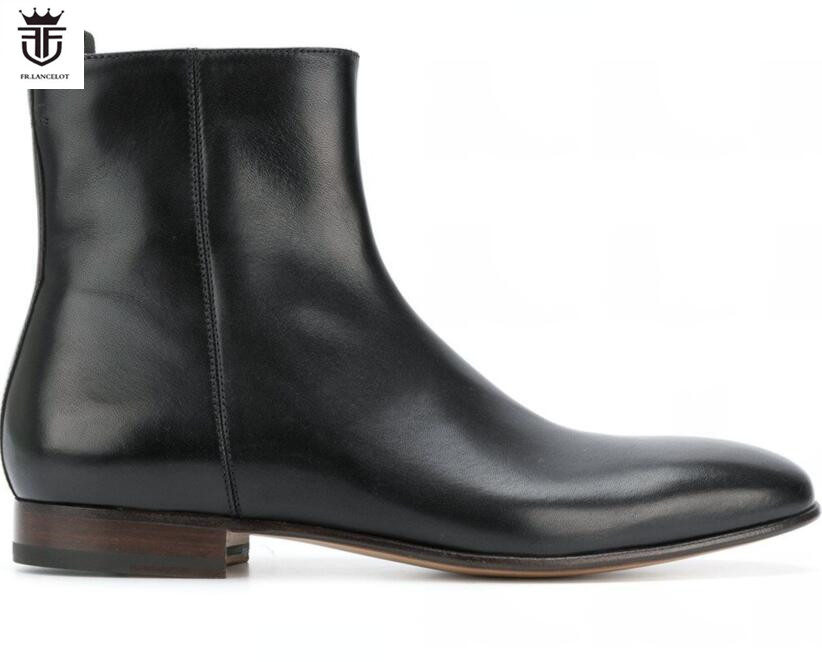 mens black leather ankle boots