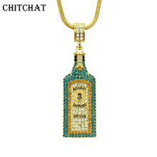 Big Wine bottle Necklaces Full Rhinestone Iced Out Pendants Hip Hop Men Women Gold Color Vogue Jewelry For Rocker