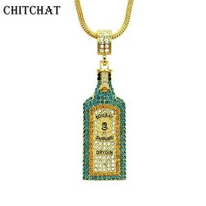 Image 1 - Collares grandes con diamantes de imitación para botella de vino, colgantes, estilo Hip Hop, Color dorado, para hombres y mujeres