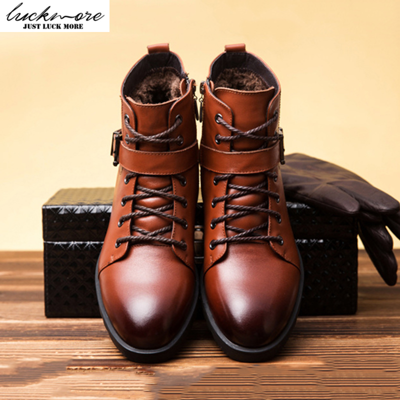 High Quality Genuine Leather Men Snow Boots Winter Warm Comfortable Velvet Belt Black Brown Man Shoes Ankle Lace Up Male bota top brand high quality genuine leather casual men shoes cow suede comfortable loafers soft breathable shoes men flats warm