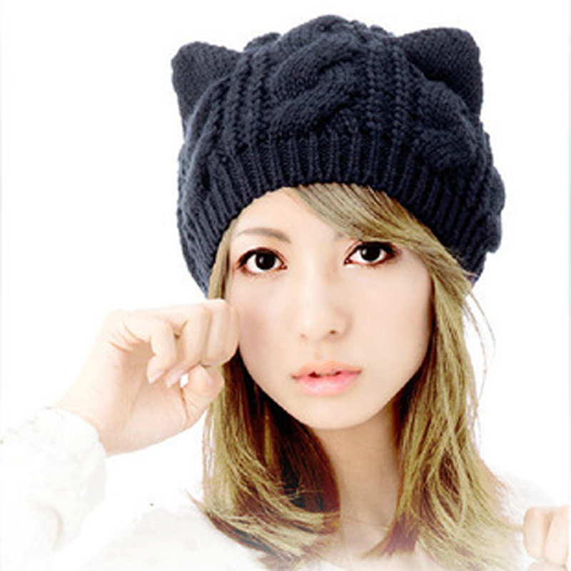 1pcs Women's Knitted Wool Hat Cap Female Cat Ears Gorros Beret Beanie Touca Bonnet Crochet Braided Winter Hats For Girl mengpipi womens letters knitted hats winter glass sequins beanie hat cap chapeu gorros de lana touca casquette cappelli bonnets