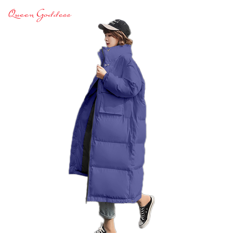 spring design for young girl slim coat long down jacket causal style large size stand collar