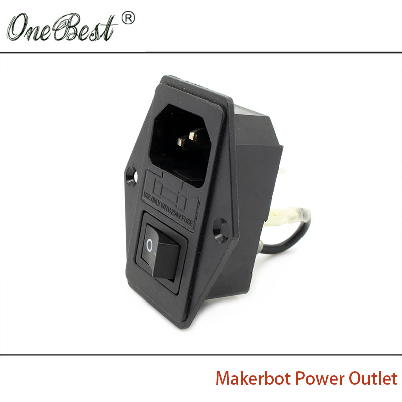 2017 High Quality 3D Printer Accessories 110V/220V 15A Makerbot Power Outlet With Switch And Fuse dia 28cm retro creative restaurant bedside wall lights living room bedroom aisle loft wall lamps resin antlers lamp