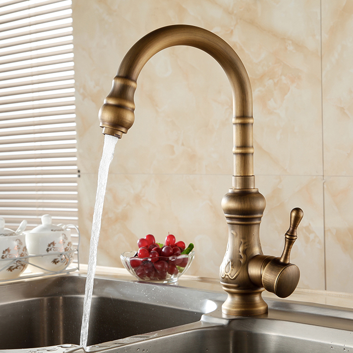 Free Shipping Kitchen faucet Antique Brass Bathroom Basin Faucet Swivel Spout Vanity Sink Mixer Tap Single Handle cocina free shipping high quality chrome brass kitchen faucet single handle sink mixer tap pull put sprayer swivel spout faucet