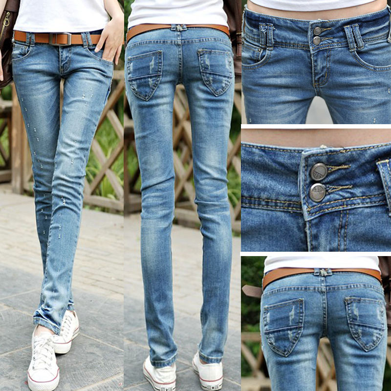 2018 Fashion Sexy Pencil Pants Slim Fit Spring Summer Jeans Woman Low Waist Skinny Trousers Lady For Women Denim Jeans Pants