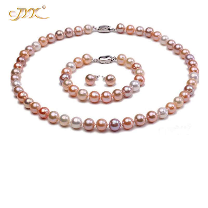 JYX Hihg quality 9mm10mm AAA Quality Round White Pink and Lavender natural Freshwater Pearl Necklace Bracelet and Earring SetJYX Hihg quality 9mm10mm AAA Quality Round White Pink and Lavender natural Freshwater Pearl Necklace Bracelet and Earring Set