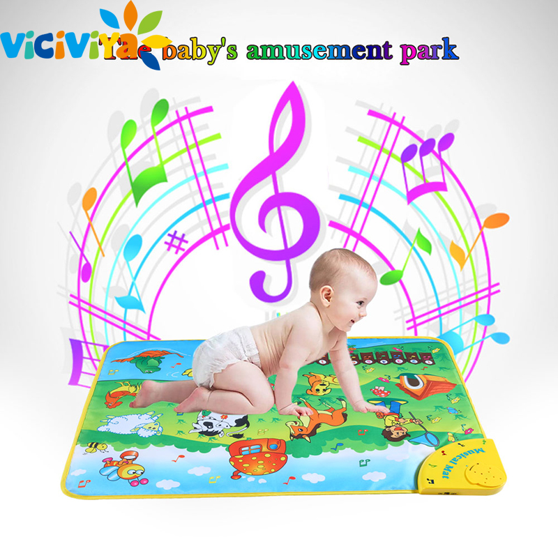 Musical Learning Mat Colorful Animal Farm Flash Infantil Play Mats Baby Toys Music Carpet Blanket Touch Toy for Kids Speelkleed baby touch farm