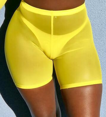 High Waist  See Through Neon Mesh Swim Shorts Cover Up 9