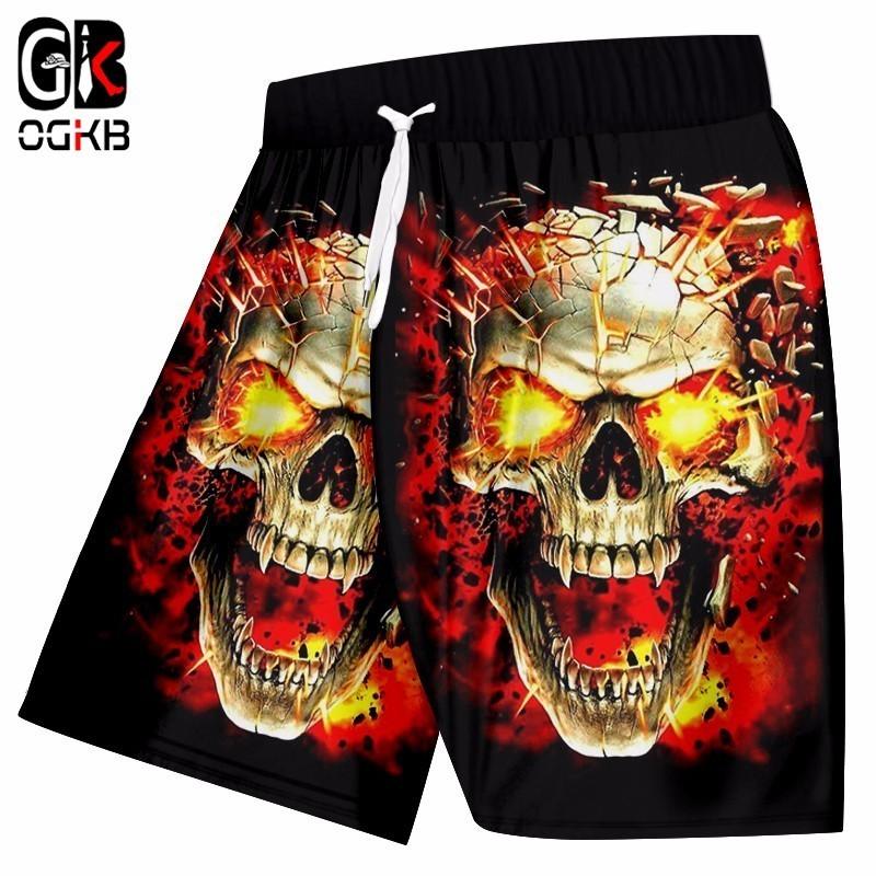 OGBK Summer Beach Shorts Men Broken Skull 3d Print Stroj Kapielowy Masculino Sweat Trunks Man Bathing Suits Quick Dry Bermuda