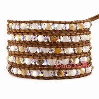 Lotus mann Two color Mother of Pearl Wrap Bracelet on Brown Leather