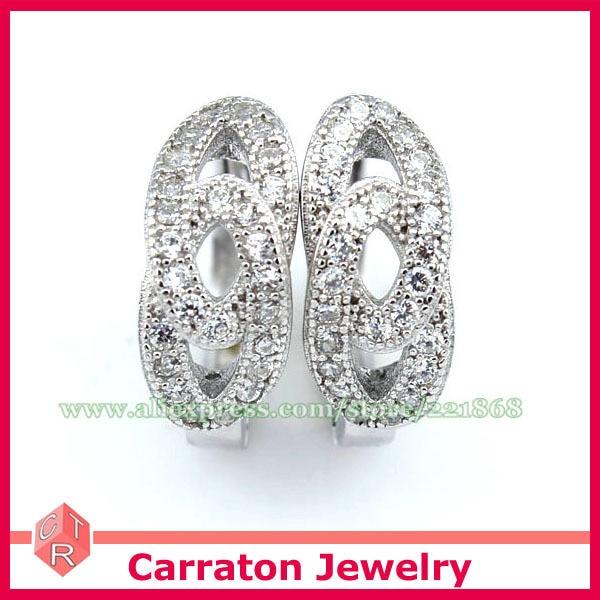 Carraton ESCH8073 AAA CZ Diamond Solid 925 Sterling Silver Fashion Huggie Earrings
