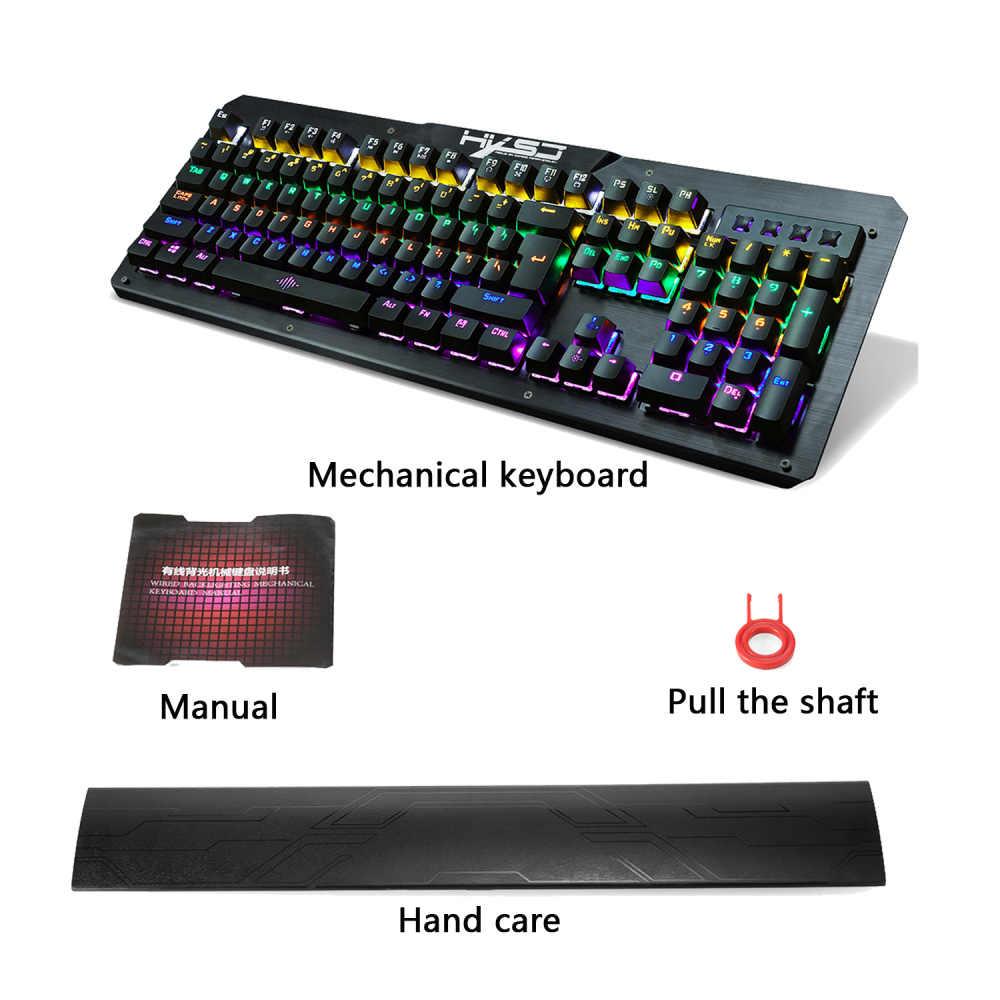 Hxsj 2600 Mechanical Gaming Keyboard 104 Kunci Outemu Biru Switch Double Injeksi Kunci 18 Lampu Latar Mode Keren