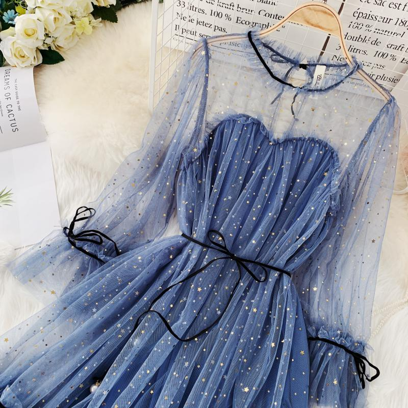 HISUMA spring autumn new women Star sequins gauze flare sleeve lace-up Princess dress female elegant o-neck mesh puff dresses 39