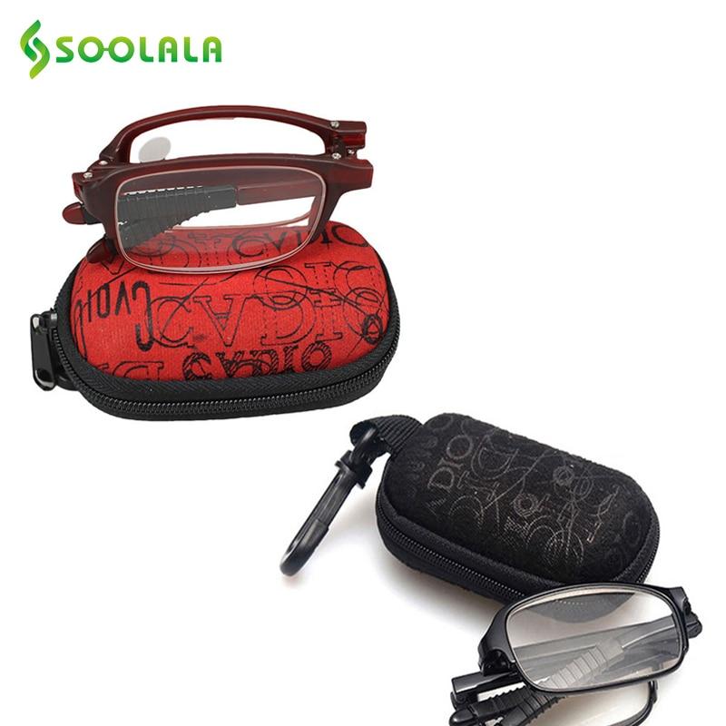 SOOLALA 2 gab. Mini TR90 nolokāmās lasīšanas brilles Unisex klipša turētāja rāvējslēdzēja soma 7 stiprās puses lēti lasītāji dāvanas vecākiem