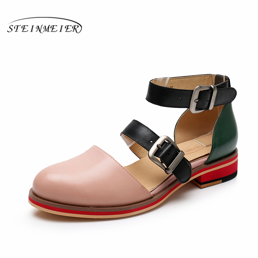 Women sandals 2019 summer yinzo ladies flat genuine leather wedges vintage platform double buckle red shoes